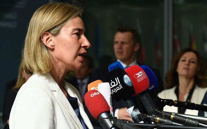 ELi välispoliitika juht Federica Mogherini eile Brüsselis ajakirjanike küsimustele vastamas.
