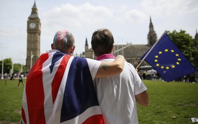 Euroopa Liitu jäämist toetavad britid üleeile Londonis.