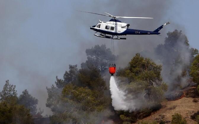 Politseikopter metsapõlengu kustutustöödel