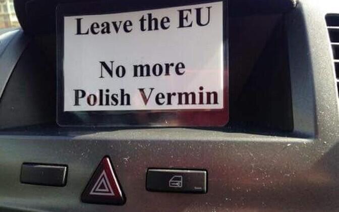 Väidetavalt poolakate postkastidesse pandud ähvarduskiri.