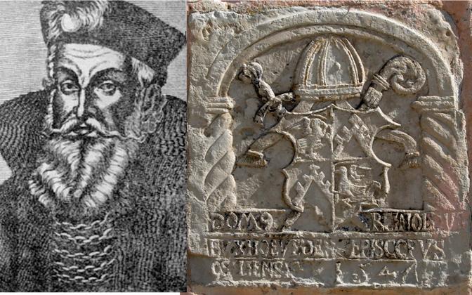 Riia peapiiskopi, markkrahv Wilhelmi portree (kivigravüür) ning Saare-Lääne piiskop Reinholdi vapp Koluvere linnuse seinal.