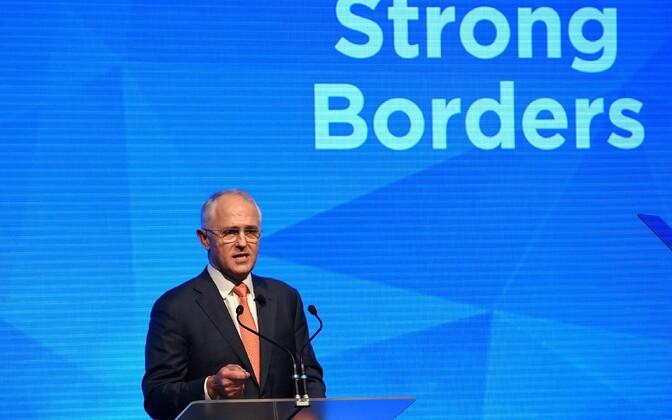 Austraalia peaminister Malcolm Turnbull kampaaniaüritusel.