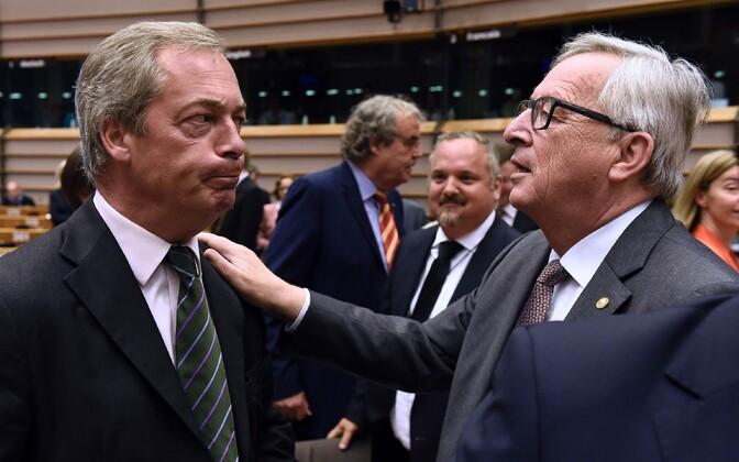 UKIP-i liider Nigel Farage ja Euroopa Komisjoni president Jean-Claude Juncker.