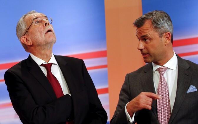 Presidendikandidaadid Alexander Van der Bellen (vasakul) ja Norbert Hofer.