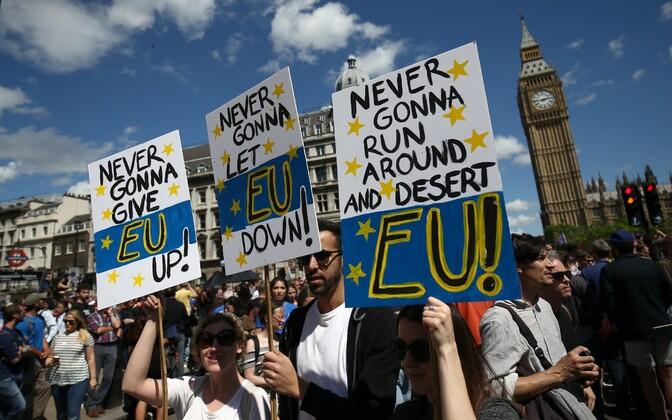 Meeleavaldus Euroopa Liidust lahkumise vastu Londonis juuli alguses.