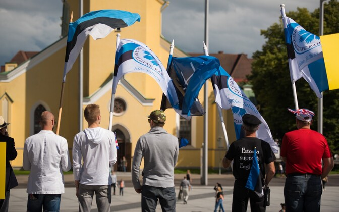 Estonian and EKRE flags at a demonstration. Photo is illustrative.