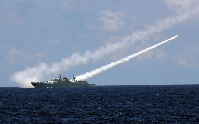 Hiina sõjalaev Guangzhou õppusel.
