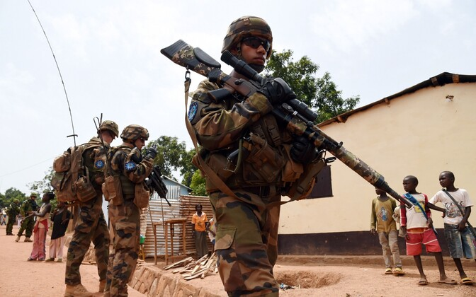 Prantsuse ja Eesti sõdurid pealinn Bangui tänaval 2014. aastal.