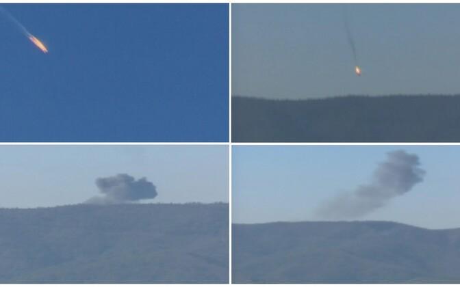 Vene sõjalennuki allatulistamist kujutavad kaadrid.