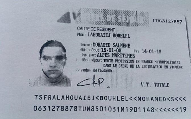 Prantsuse politseist saadud foto Mohamed Lahouaiej-Bouhleli elamisloast.