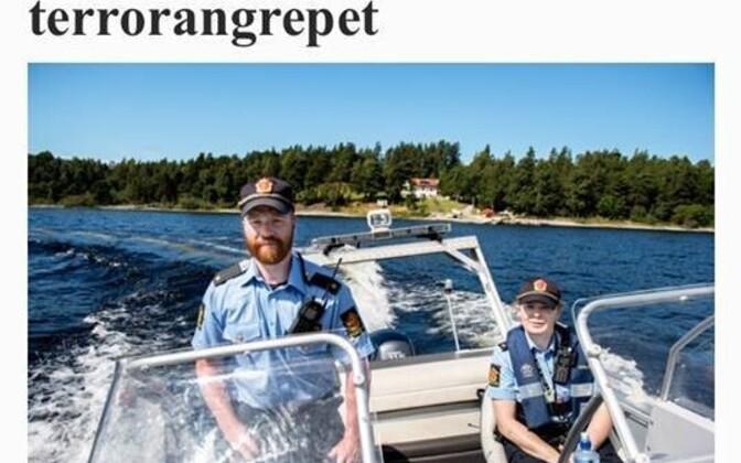Norra politseinik Arne Stavnes (vasakul) päästevestita merel.
