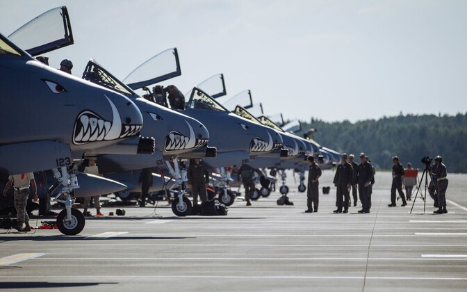 Eight A-10 Warthogs from the USAF's 303rd Fighter Squadron at Ämari Air Base. July 25, 2016. Photo is illustrative.