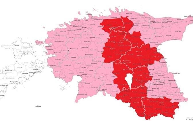 Kõige karmimate piirangutega III tsoon, mis on märgitud punasega, laienes Lääne-Virumaal, Jõgevamaal ja Harjumaal asuvatele valdadele.