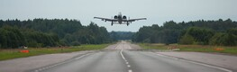 Crowds came to watch as USAF A-10 Warthogs practiced landing, taking off from Estonian highway. August 1, 2016.