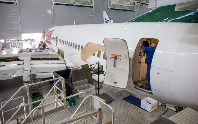 A plane being fitted out in Tallinn by Estonian firm Magnetic MRO.