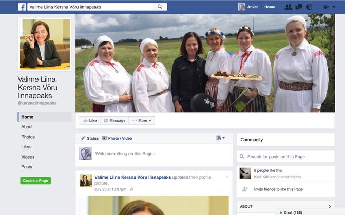 Liina Kersnat Võru linnapeaks sooviv Facebooki lehekülg.