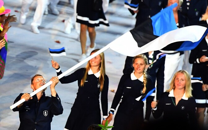 Estonian delegation at the opening ceremony of the 2016 Rio Games. The Estonian flag was carried by sailor Karl-Martin Rammo.