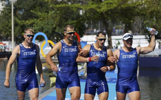 The bronze medal-winning Estonian quadruple sculls team: Kaspar Taimsoo, Tõnu Endrekson, Allar Raja and Andrei Jämsä. Thursday, Aug. 11, 2016.