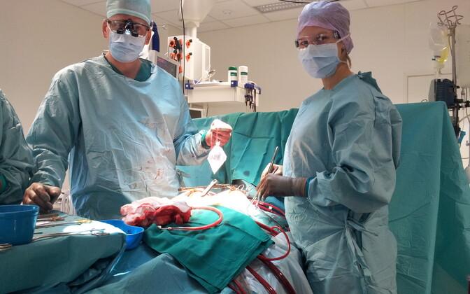 Tartu ülikooli kliinikumi südamekirurgid Arno Ruusalepp ja Raili Ermel tööhoos. Pilt on illustratiivne.