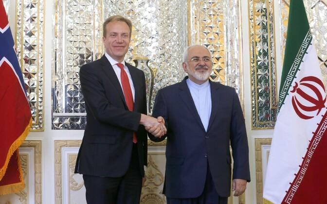 Norra välisminister Borge Brende ja Iraani välisminister Javad Zarif 17. augustil Teheranis.