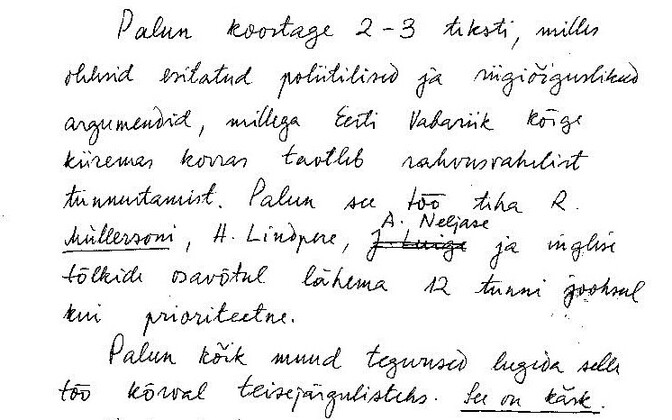 A copy of the fax Lennart Meri, then Estonian Minister of Foreign Affairs, sent from Helsinki to Tallinn two hours after Estonia declared the restoration of its independence in August 1991.
