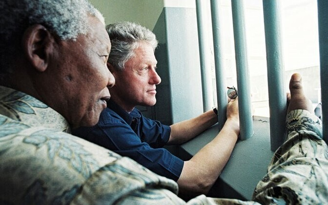 Nelson Mandela and Bill Clinton in what used to be Mandela's cell on Robben Island. Photography by Juhan Kuus