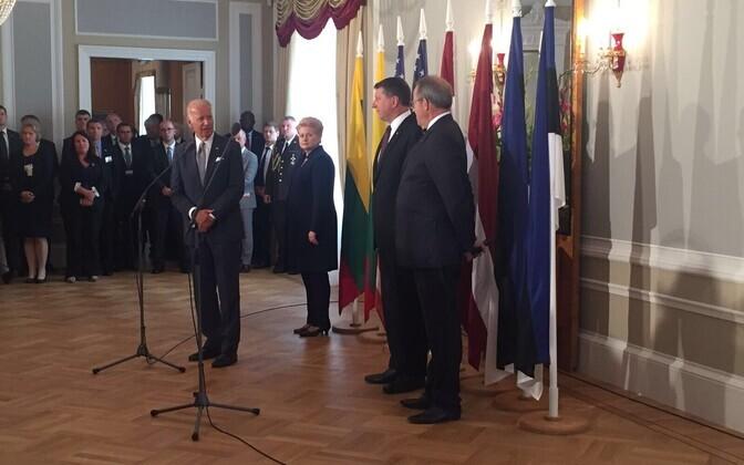 Biden ja Balti presidendid Riias presidendilossis. Foto: USA saatkond
