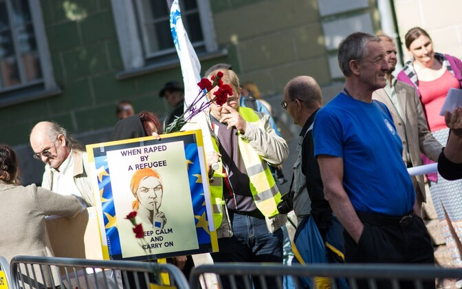 An EKRE anti-immigration protest on Toompea Hill in Tallinn. July 2016.