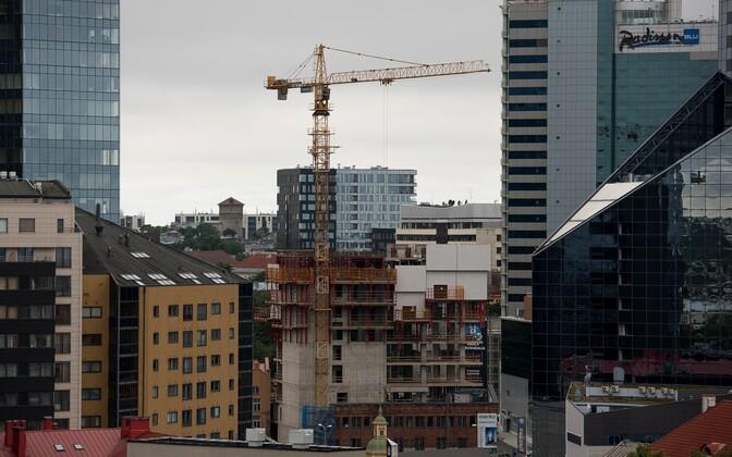 Construction work in central Tallinn in summer 2016.