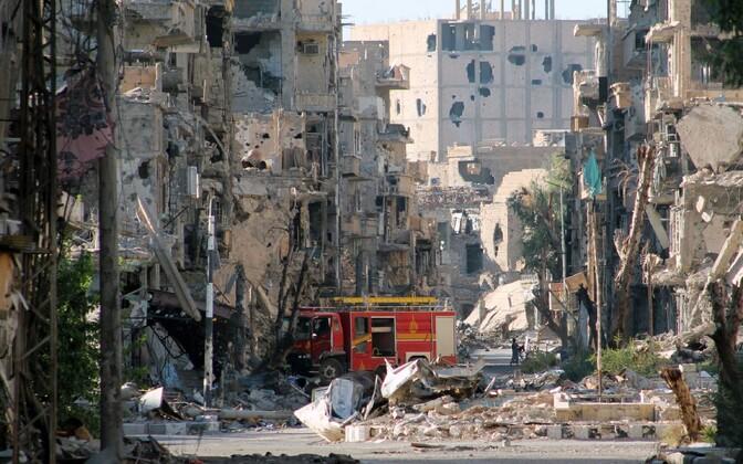 Sõjapurustused Süürias Deir Ezzori linnas.