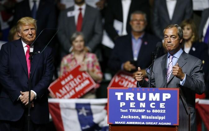 Trump ja Farage kampaaniaüritusel Mississippis 24. augustil.