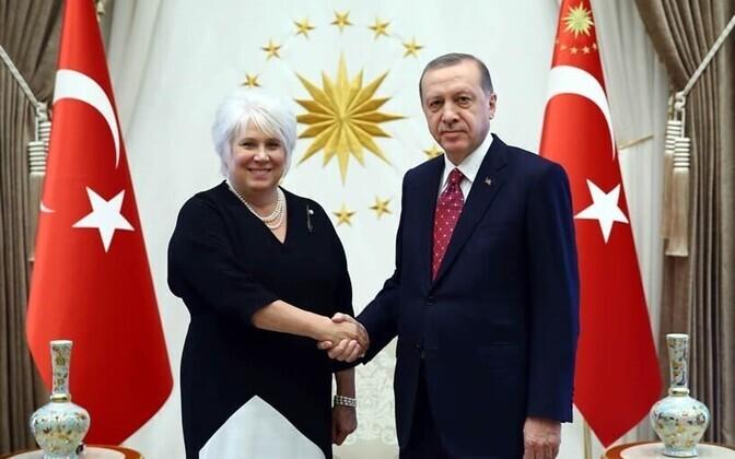 Estonian Minister of Foreign Affairs Marina Kaljurand met with Turkish President Tayyip Erdoğan in Ankara. Aug. 24, 2016.