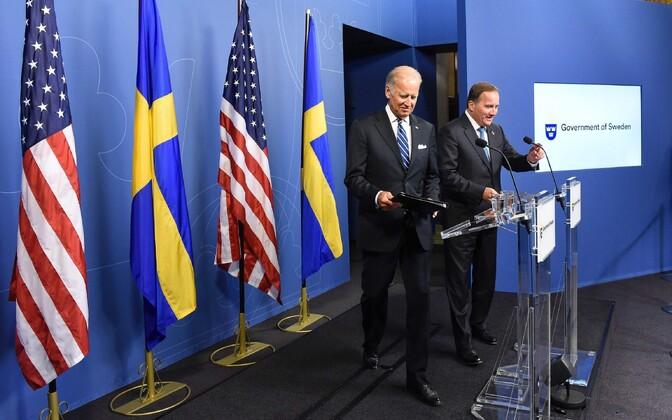 USA asepresident Joe Biden (vasakul) ja Rootsi peaminister Stefan Loefven 25. augustil Stockholmis.