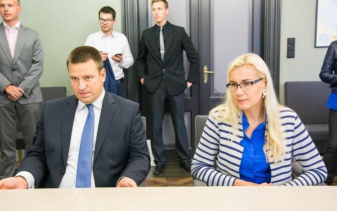 Jüri Ratas and Kadri Simson during the 2016 presidential elections.