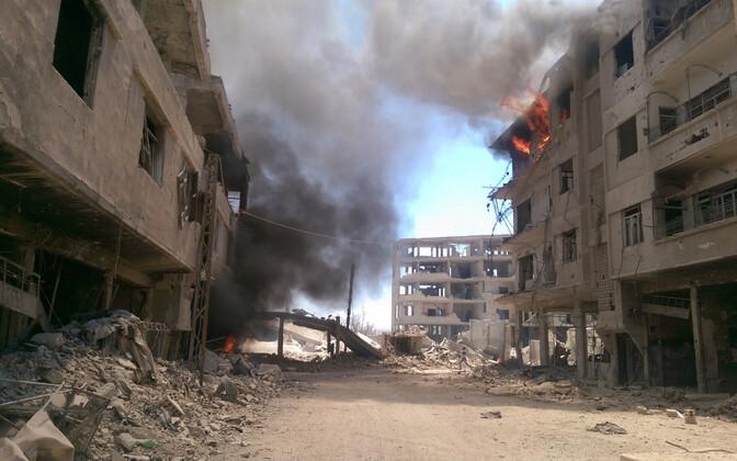 Purustatud Daraya linnaosa augusti keskel.