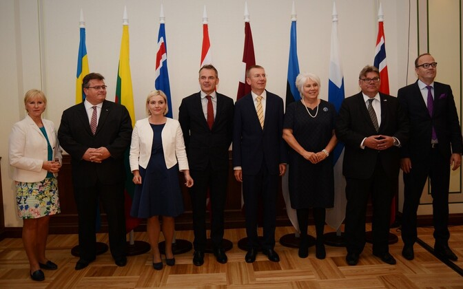 The ministers of foreign affairs of the Nordic and Baltic countries in Riga, Aug. 27, 2016