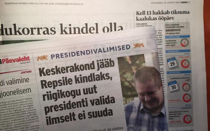 Presidendivalimiste hommiku pealkirjad Eesti ajalehtedes.