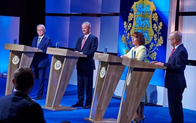 Candidates Eiki Nestor, Siim Kallas, Mailis Reps, and Allar Jõks in Sunday's presidential debate on ETV.