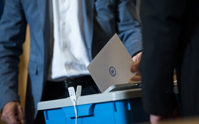 A paper ballot being cast.