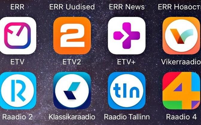 ETV uued äpid teises reas vasakult alates: ETV, ETV2, ETV+.