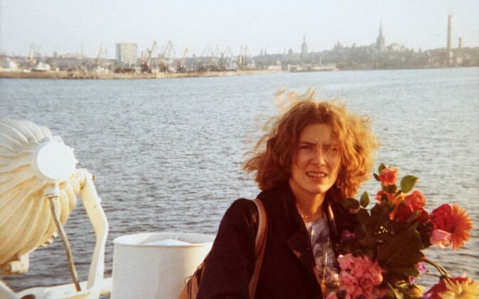 Anne Liisa Sarapik (née Meigo) arriving in Tallinn for the first time via ferry from Helsinki. July 1975.