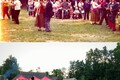 Revelers dancing at the Open Air Museum in Tallinn in 1975 and 2016.