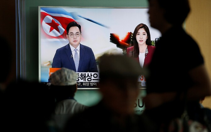 Põhja-Korea telekanal raketikatsetusest teada andmas.
