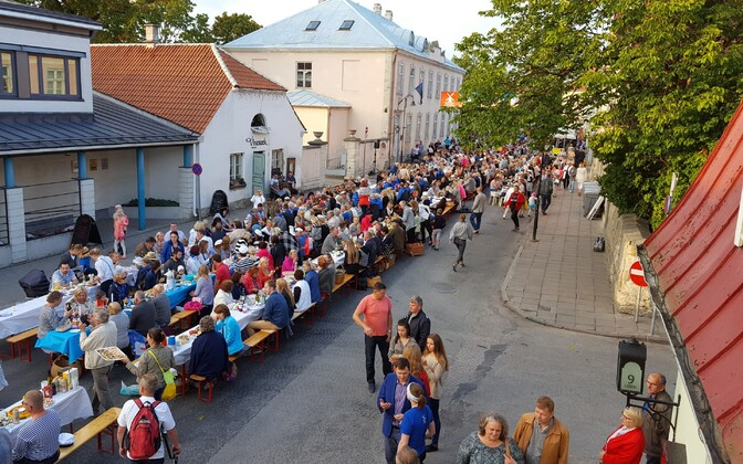 Crowd at a street fair in Kuressaare. Image is illustrative