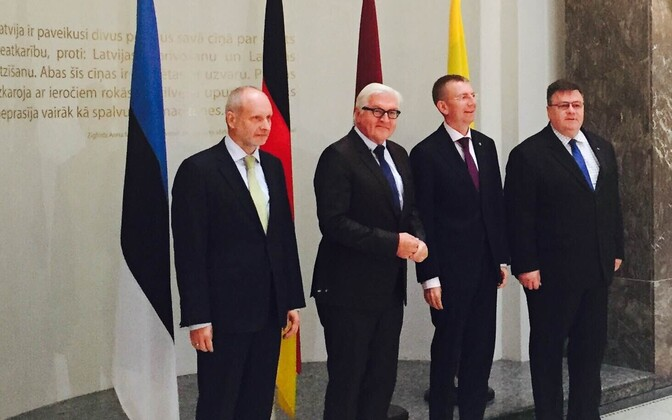 Matti Maasikas, Saksamaa välisminister Frank-Walter Steinmeier, Läti välisminister Edgars Rinkēvičs, Leedu välisminister Linas Linkevičius.