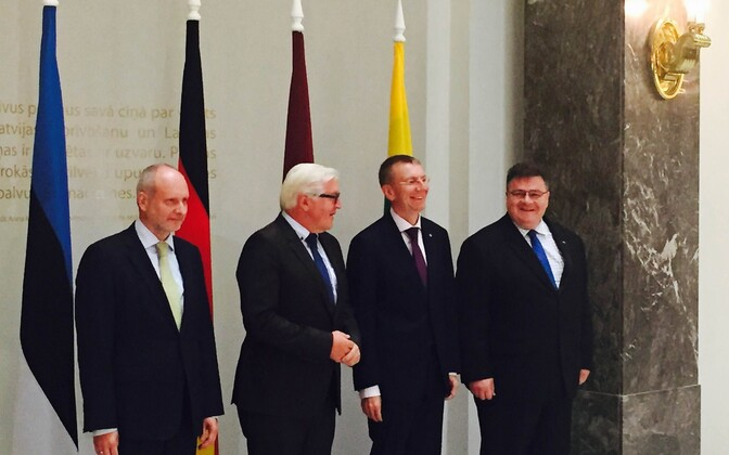 Left to right: Matti Maasikas (Estonia), Frank-Walter Steinmeier (Germany), Edgars Rinkēvičs (Latvia), and Linas Linkevičius (Lithuania).