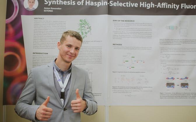 Anton Konovalov Euroopa Liidu noorte teadlaste konkursil.