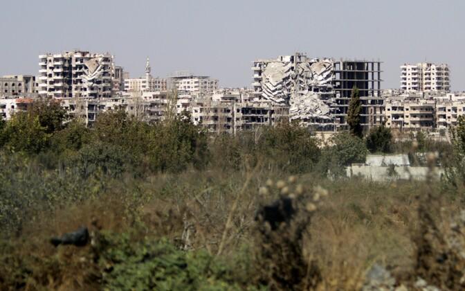 Kahjustatud hooned Homsis.