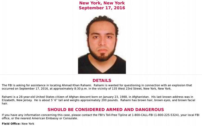 FBI otsib taga Ahmad Khan Rahami't, kes võib olla relvastatud ja ohtlik.