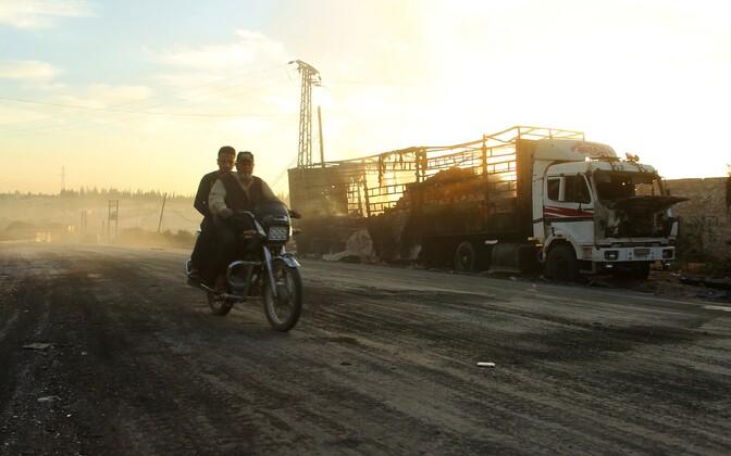 Õhurünnakus hävinud humanitaarabiveok.